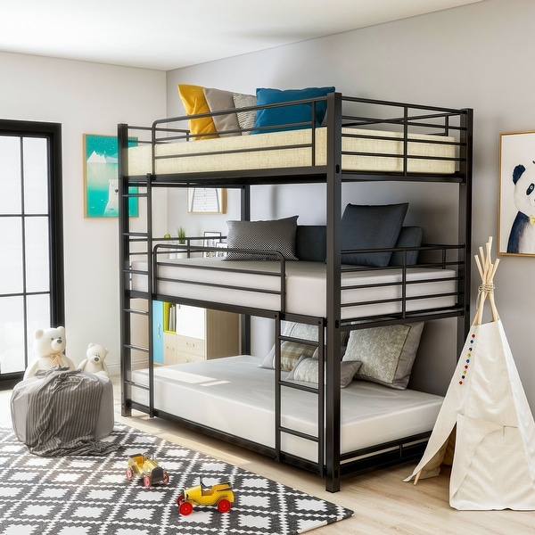 Furniture of America Cody Contemporary Black Triple Decker Bunk Bed. Opens flyout.