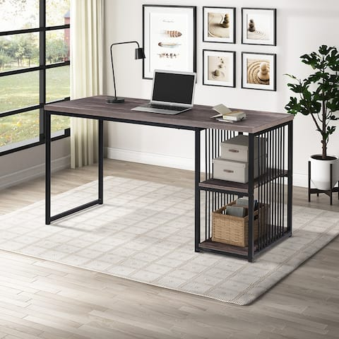 Home Office Computer Desk Writing Desk with 2 Storage Shelves