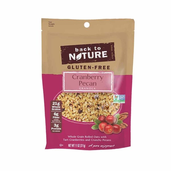 Back To Nature Cranberry Pecan Granola - Whole Grain Oats with Tart Cranberries & Crunchy Pecans - 6 Pack - 11oz