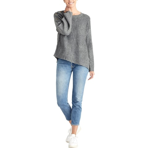 Rachel Rachel Roy Womens Adley Pullover Sweater Embellished Asymmetrical - Heather Grey