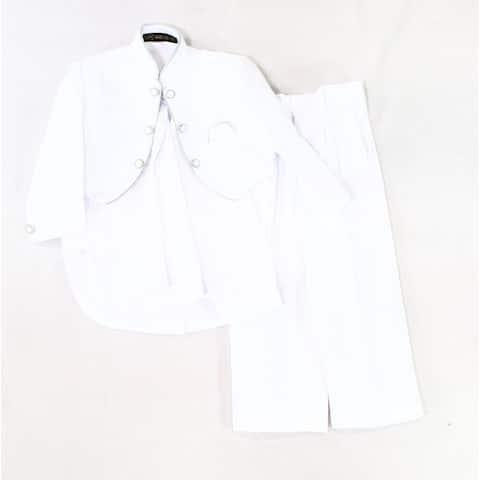 Wei Ke Xi White Silver Boy's Size 4 Contrast Pintuck Three Piece Suit