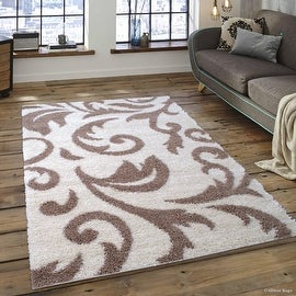 "Allstar Ivory Dense High Pile Posh Shaggy Area Rugs, Textured Frieze, Soft, Comfortable, Modern & Contemporary (5' 0"" x 7' 0"")"