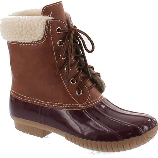 Axny Dylan-3 Women's Two Tone Lace Up Ankle Rain Duck Boots One Size Small