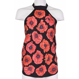 New Gucci Women's 327378 Black and Red Floral Poppy Scarf Halter Top Blouse O/S