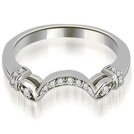 0.07 cttw. 14K White Gold Antique Round Cut Diamond Wedding Band