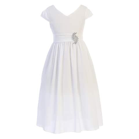 Just Kids White Sash Broche Ankle Length Communion Dress Big Girls