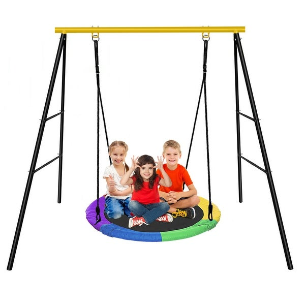 A-Frame Metal Swing Stand Frame With 40 Inch Saucer Tree Swing Set - Multi - Swing Stand + Saucer Swing. Opens flyout.