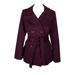 Rampage Eggplant Purple Double-Breasted Trench Coat M