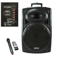 beFree Sound 15 Inch Bluetooth Powered Portable PA Party Speaker