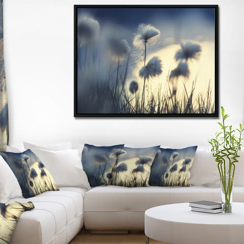 Designart 'Arctic Blooming Cotton Flowers' Large Flower Framed Canvas Wall Art