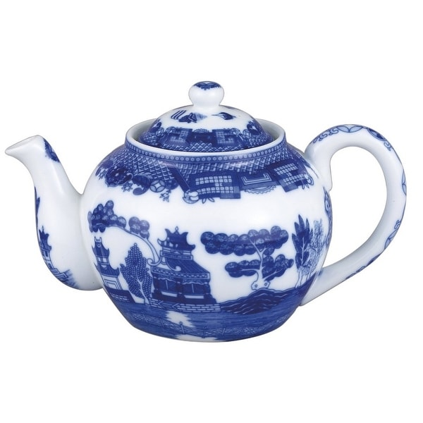 HIC Porcelain 3726 Blue Willow Teapot With Infuser, 32 Oz.