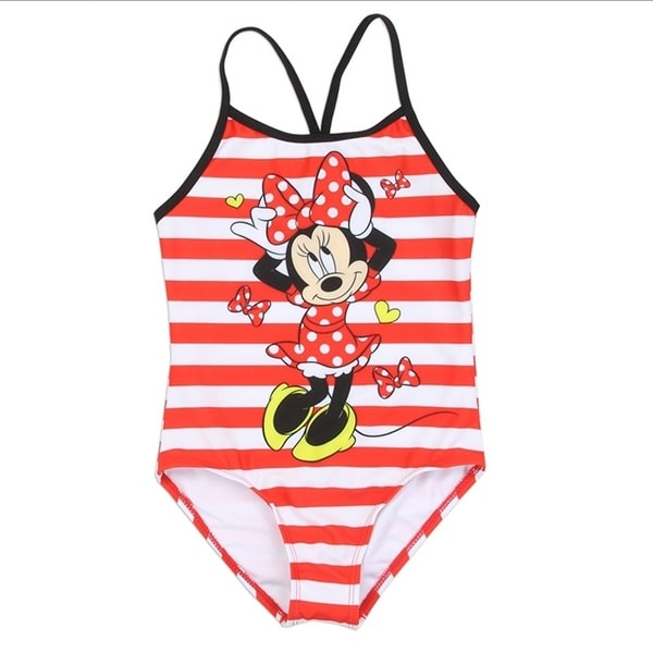 b025b6a30793d Shop Disney Little Girls Red White Stripe Minnie Mouse One Piece Swimsuit -  Free Shipping On Orders Over  45 - Overstock.com - 21335511