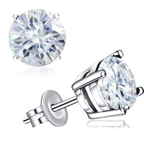 Moissanite Sterling Silver Round Stud Earrings by Orchid Jewelry