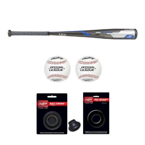 """Rawlings 2018 Velo Hybrid Youth Baseball Bat (30""""/25 oz) with Accessory Bundle"""