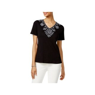 Alfred Dunner Womens Petites Casual Top Sequined Embroidered