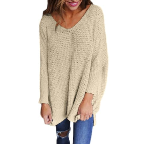 6 Colors Sweater Tops Autumn Winter Long Sleeve Casual Knit Tops