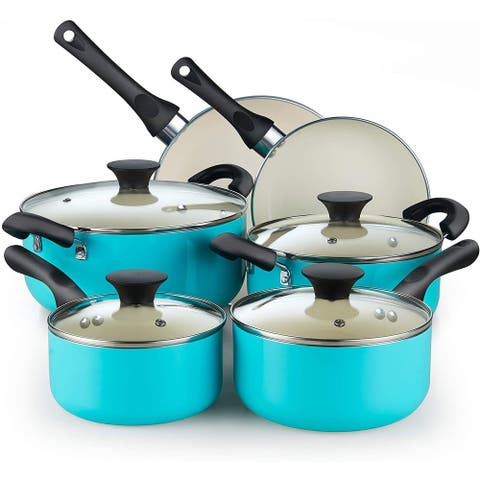Cook N Home Ceramic coating cookware set, 10-Piece, Turquoise