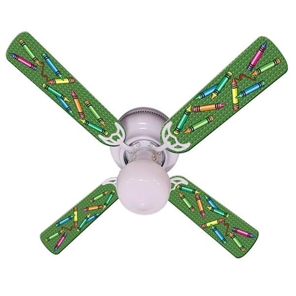 Green Crayon Print Blades 42in Ceiling Fan Light Kit - Multi