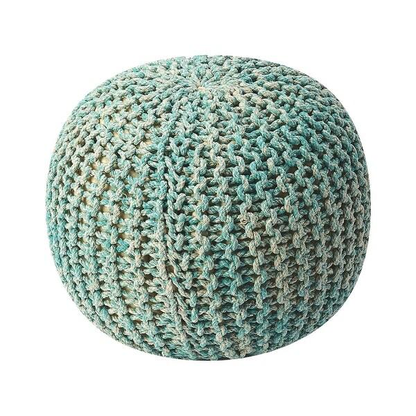 Modern Accent Round Woven Pouffe - Green