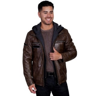 Scully Jacket Mens Leather Zip Front Point Collar Stitching Detail 609