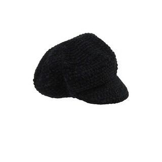 August Hat Black Chenille Modcap OS