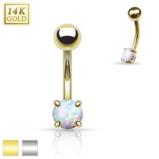 Prong Set Opal Stone 14K Gold Curved Barbell Eyebrow Ring (Sold Individually)