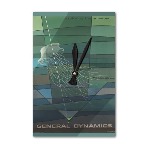 General Dynamics - Exploring the Universe (artist: Nitsche) Switzerland c   1958 - Vintage Advertisement (Acrylic Wall Clock)