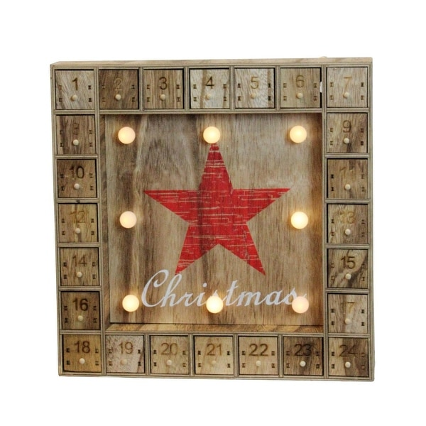 "14"" Battery Operated LED Lighted Wooden Advent Calendar Wall Decoration"