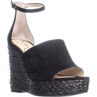 Jessica Simpson Suella Espadrilles Wedge Sandals, Black Suede