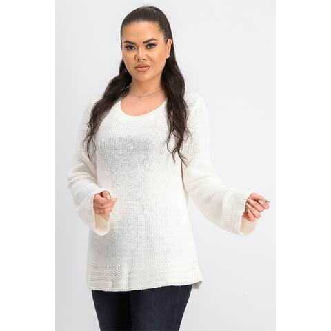 Style & Co Women's Boxy Knit Pullover Sweater White Size X-Large