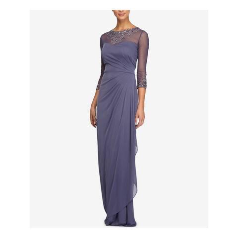 ALEX EVENINGS Purple Long Sleeve Full-Length Sheath Dress Size 8P
