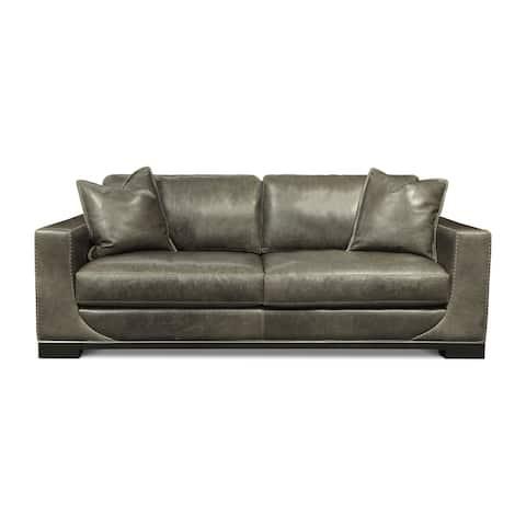 Cassidy Italian Full Grain Leather Mid-Century Modern Sofa