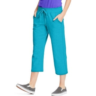 Hanes Women's French Terry Pocket Capri - Size - S - Color - Intense Aqua