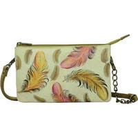 299d2e323c Anuschka Women s Hand Painted RFID Blocking Organizer Crossbody Floating  Feathers Ivory - US Women s One Size
