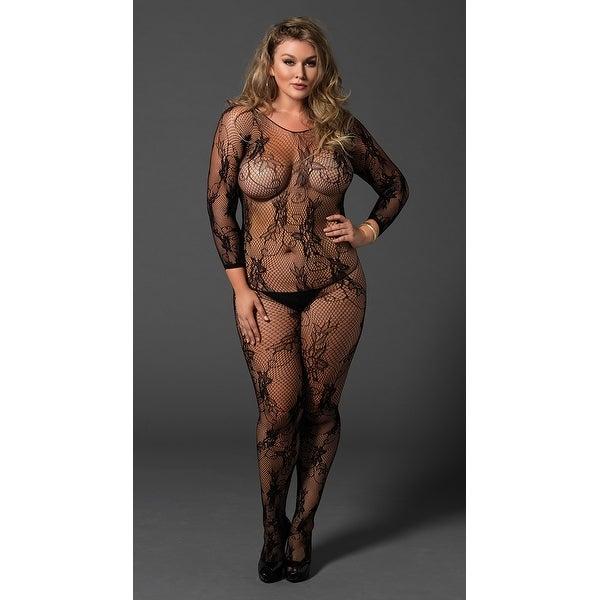 0633b54e72 Shop Plus Size Seamless Fishnet And Lace Bodystocking