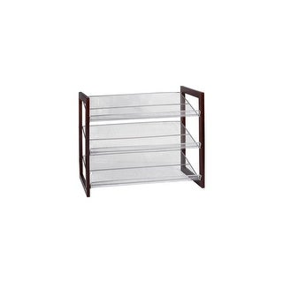 "Organize It All 17053  25"" Wide 3-Tier Shoe Rack - Espresso"