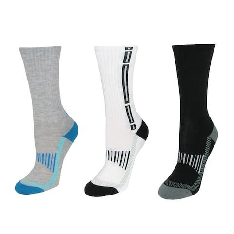 Jefferies Socks Boy's Striped Crew Socks (3 Pair Pack) - Blue Black Grey