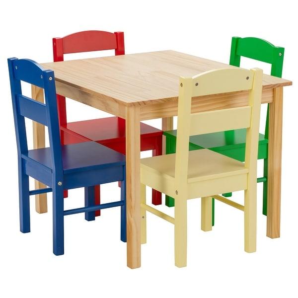 Costway Kids 5 Piece Table Chair Set Pine Wood Multicolor Children. Opens flyout.