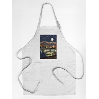 Memphis, Tennesseee - Skyline at Night - Lantern Press Artwork (Cotton/Polyester Chef's Apron)