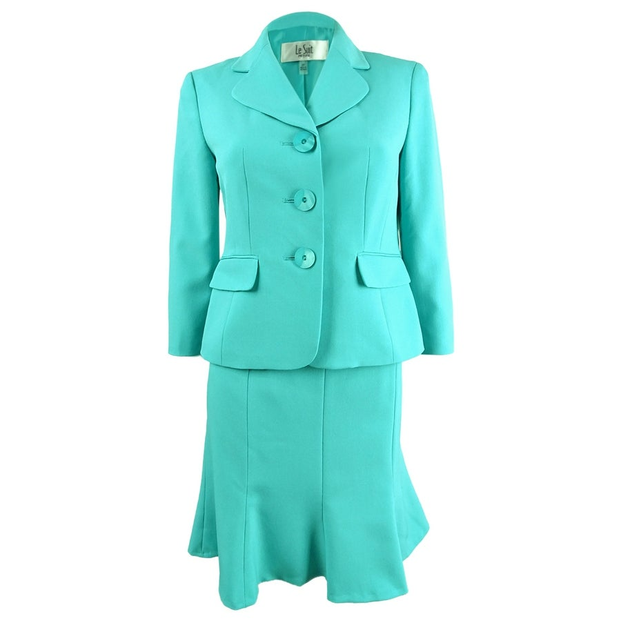 Le Suit Womens Three-Button Crepe Skirt Suit - Light Opal
