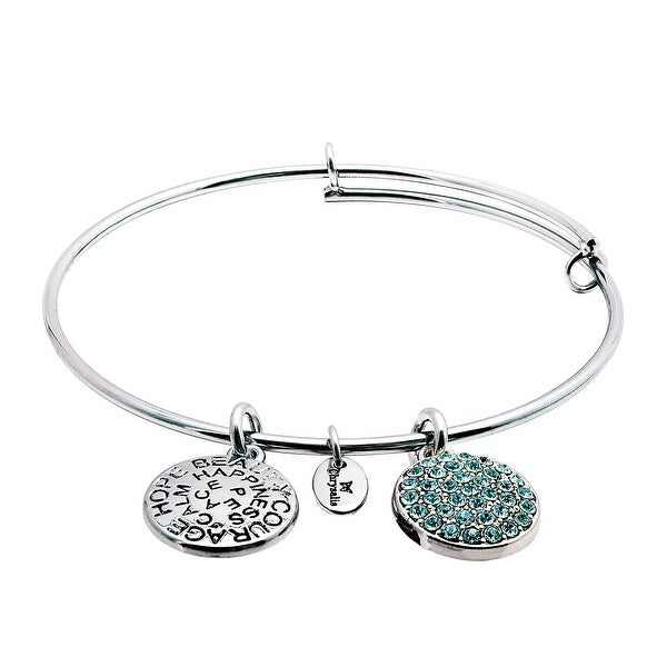 Chrysalis Expandable March Bangle Bracelet with Light Blue Swarovski elements Crystals in Rhodium-Plated Bras