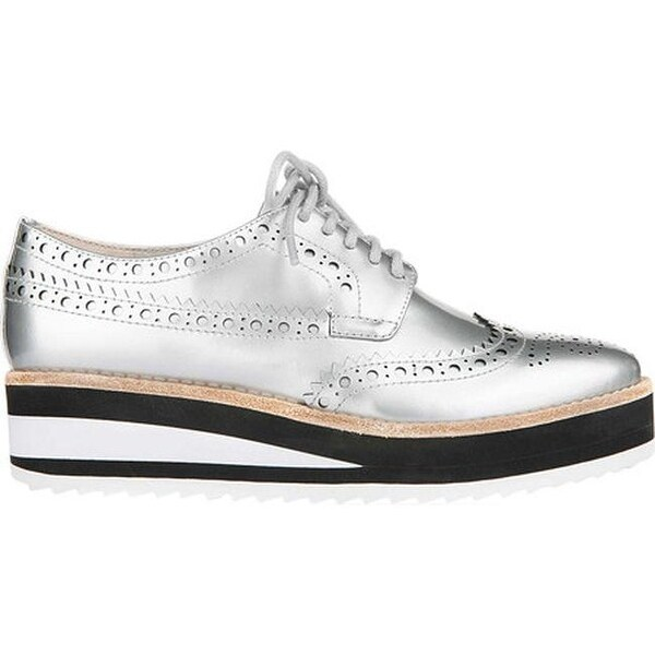 ae3f60a95386c1 Shop Kenneth Cole New York Women s Roberta Wedge Sneaker Silver Leather - On  Sale - Free Shipping Today - Overstock - 19473716