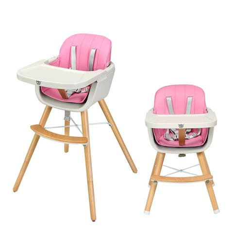 Babyjoy 3 in 1 Convertible Wooden High Chair Baby Toddler Highchair w/