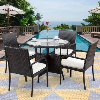 Costway 5PCS Rattan Wicker Garden Patio Furni Set Chairs Round Table Dining  Table Set Outdoor