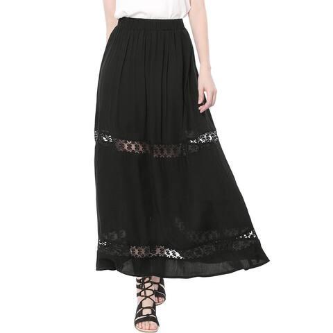 Unique Bargains Women Elastic Waist Lace Insert A Line Maxi Skirt