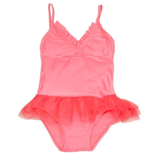 2B Real Baby Girls Coral Mesh Ruffle Adorned One Piece Swimsuit