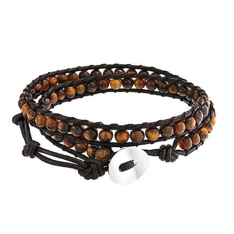 Brown Tiger Eye Genuine Black Brown Leather Strand Wrap Bracelet