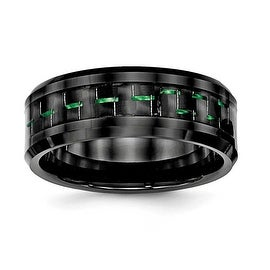 Ceramic Black with Green Carbon Fiber Beveled Edge Ring (8 mm) - Sizes 7 - 13