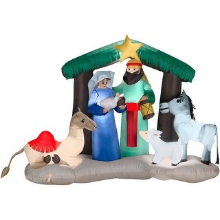 Gemmy 87876 Airblown Nativity Christmas Scene Lighted Inflatable, Fabric