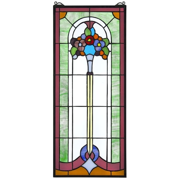 Design Toscano Bouquet of Posies Tiffany-Style Stained Glass Window